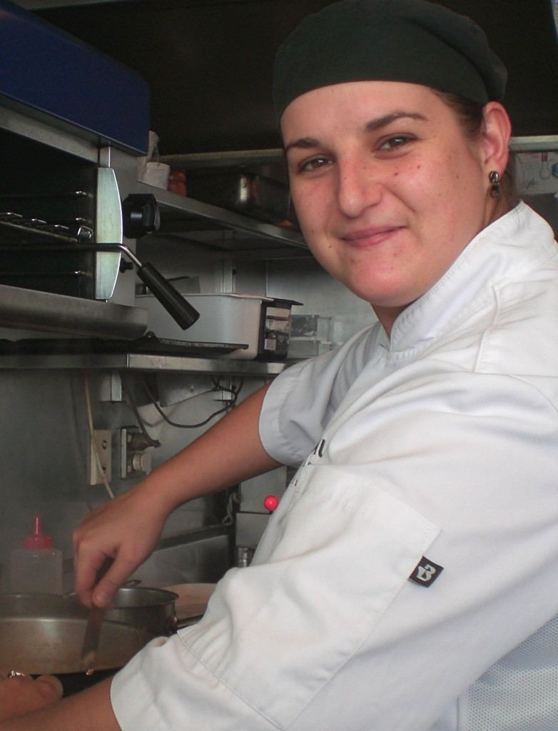 Sophie Cannon in the kitchen at Te Whau Vineyard Restaurant