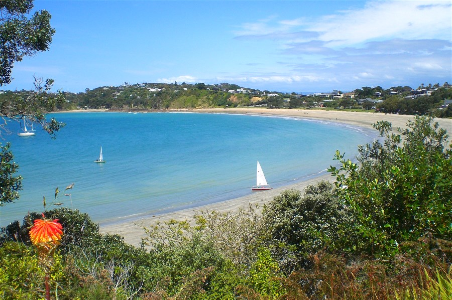 Walk ends at Oneroa with the view of Oneroa Bay to enjoy along the way