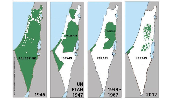 Shows a map of Palestine in 1946 which was predominantly Arab (green), and that by 2012 the land is predominantly in Israel's hands (white).